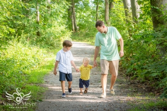 Father and Sons Walking