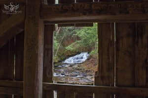 Beecher Creek Falls Framed by Copeland Covered Bridge