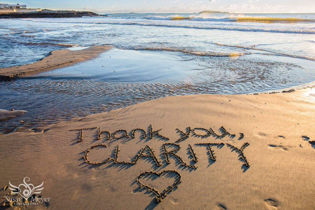 Thank You Clarity Words in the Sand