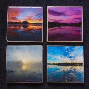 Hudson River Sunrise Photo Coasters