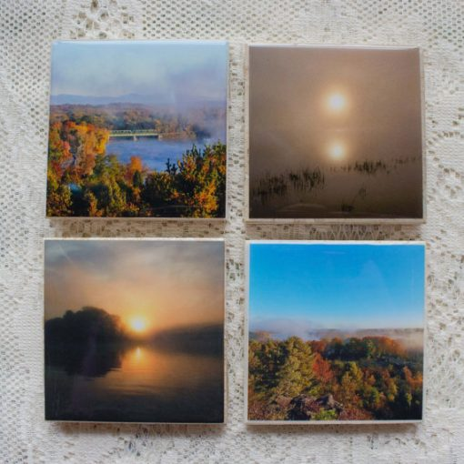 Morning Mist on the Hudson Photo Coasters